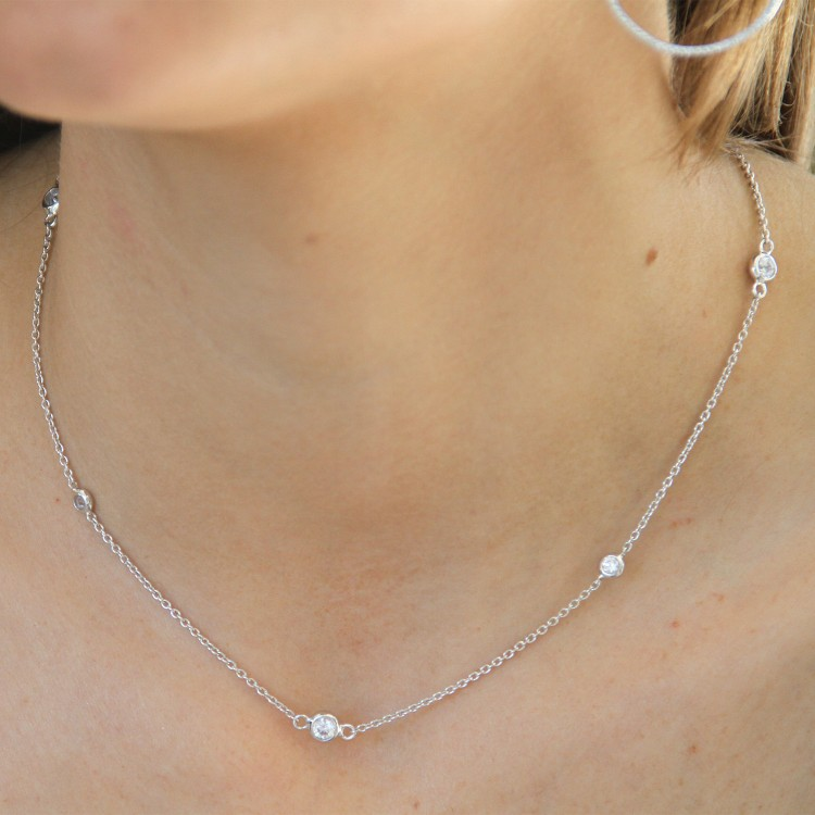 925 Sterling Silver Chain and Bezel Set Cubic Necklace
