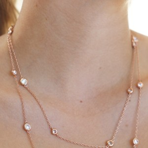 925 Sterling Silver rose gold plate Chain and Bezel Set Cubic Necklace