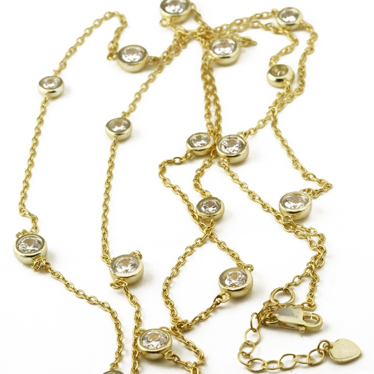 925 Sterling Silver yellow gold plate Chain and Bezel Set Cubic Necklace