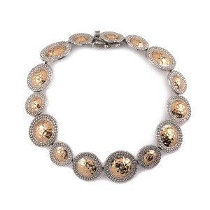 Silver and rose gold Roman bracelet