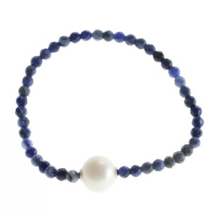 Natural Sodalite and pearl stretchy