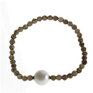 Smokey Quartz and pearl stretchy