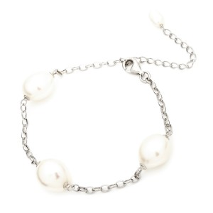 Irregular Pearl and Silver chain bracelet