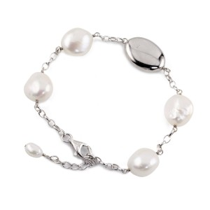 Irregular natural pearl and Silver disk bracelet