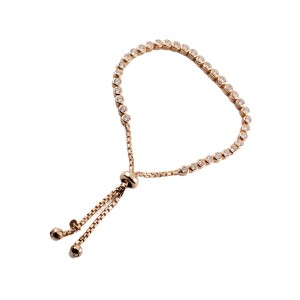 Silver rose gold CZ set Toggle Tennis Bracelet