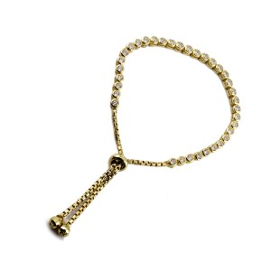 Silver yellow gold CZ set Toggle Tennis Bracelet