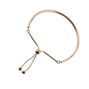 Silver rose gold plate contemporary stack toggle bracelet