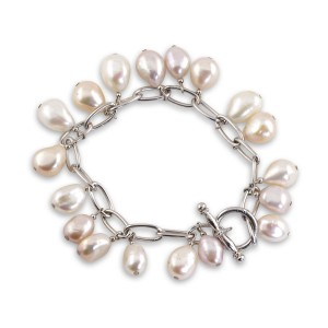 Silver natural pearl charm bracelet