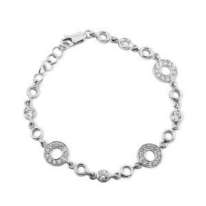 925 Sterling Silver CZ encrusted circle bracelet