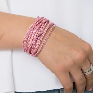 Soft pink multi stone wrist wrap