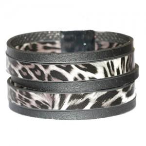 Faux Leather Animal Print Cuff