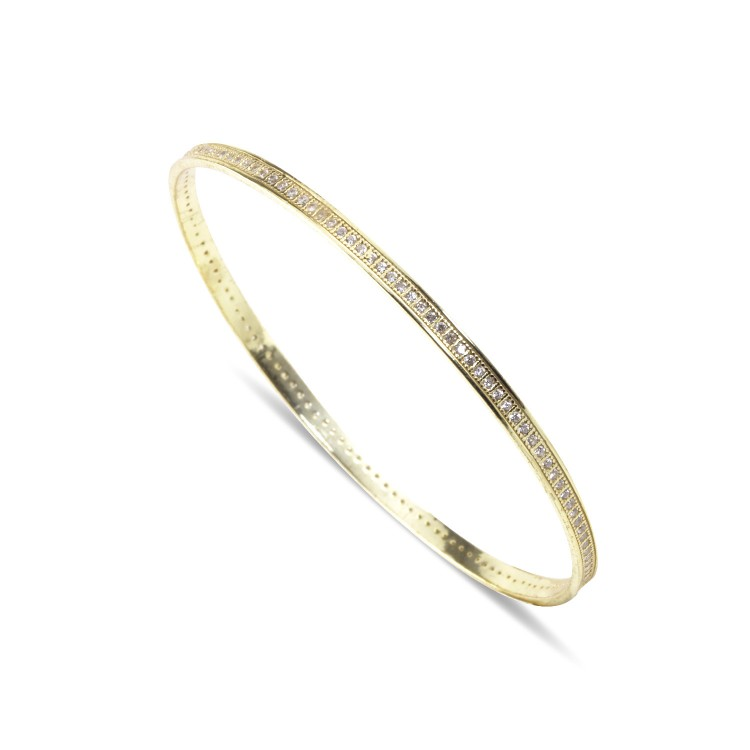 925 Sterling Silver Yellow Gold cz encrusted Stacker Bangles