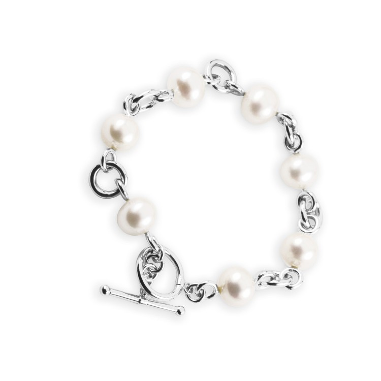 925 Sterling Silver T-bar and Pearl Bracelet