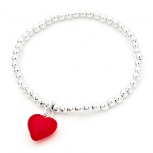 Hearts of love 925 Sterling Silver bead bracelet