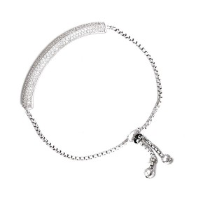 Cubic Encrusted 925 Sterling Silver Glamour Toggle Bracelet