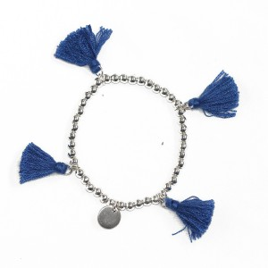 Stretchy Blue Tassel Ball Bracelet