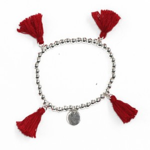 Stretchy Red Tassel Ball Bracelet