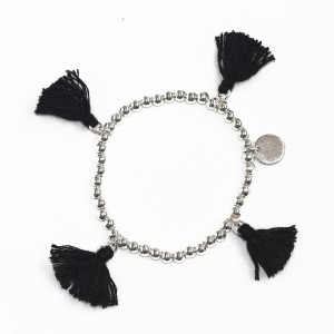 Stretchy Black Tassel Ball Bracelet