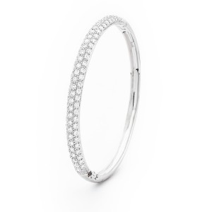 Diamante Encrusted 925 Sterling Silver Hinged Bangle