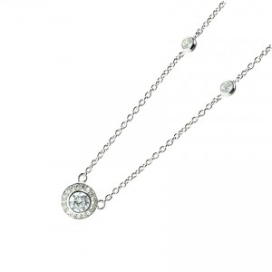 Silver cz Solitaire Halo Necklace