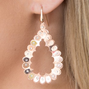 Italian 925 Sterling Silver Rose Gold Swarovski Crystal Tear Drop Earrings