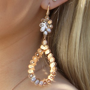 Italian 925 Sterling Silver Rose Gold Long Drop Swarovski Crystal Tear Drop Earrings