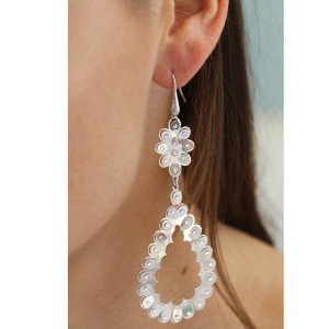 Italian 925 Sterling Silver Long Drop Swarovski Crystal Tear Drop Earrings