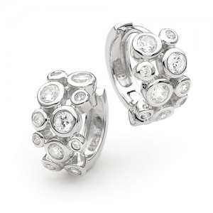 925 Sterling Silver cubic zirconia encrusted Huggie Earrings