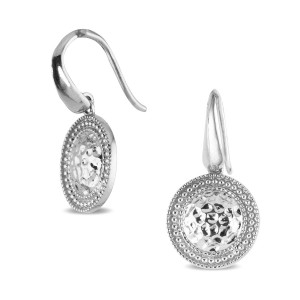 925 Sterling Silver round disk earrings