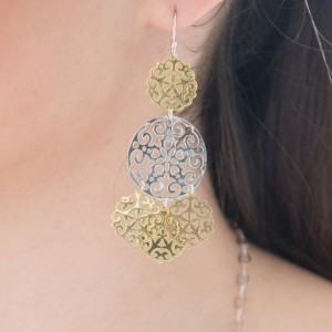 2 tone gold and silver chandelier earrings