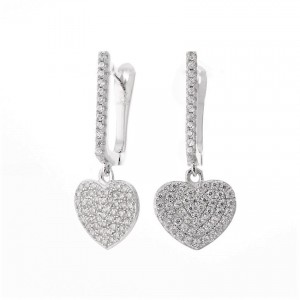 925 Sterling Silver Pave Love Heart Drop Earrings