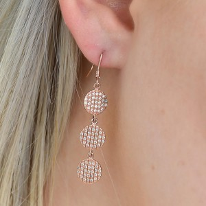 925 Sterling Silver Multi Drop Rose Gold Formal Earrings