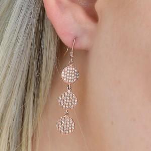 925 Sterling Silver Multi Drop Rose Gold Formal Earrings