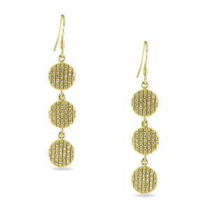 925 Sterling Silver Multi Drop CZ encrusted Yellow Gold Formal Earrings