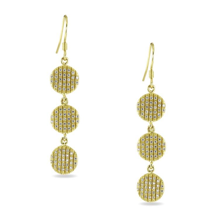 925 Sterling Silver Multi Drop CZ encrusted Yellow Gold Formal Earrings