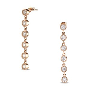 925 Sterling Silver long drop rose gold formal studs