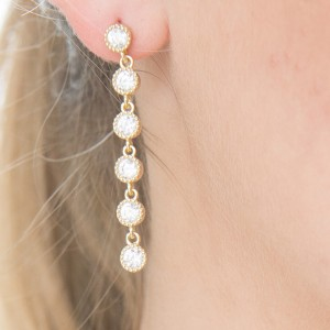 925 Sterling Silver long drop yellow gold formal studs