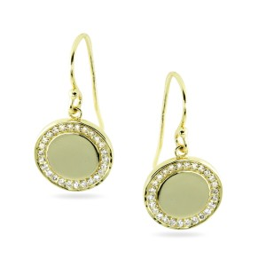 925 Sterling Silver disk drop earrings
