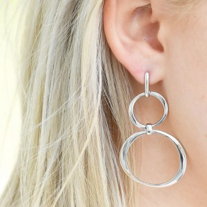 Long Drop Circle Arabesque earrings