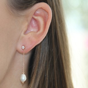 Pearl and Silver Chain Drop Studs