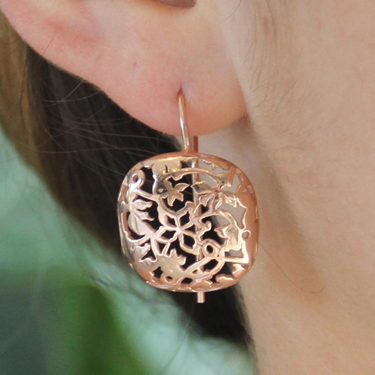 Silver Rose Gold Filigree Earrings