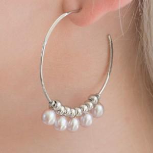 925 Sterling Silver freshwater pearl hoops