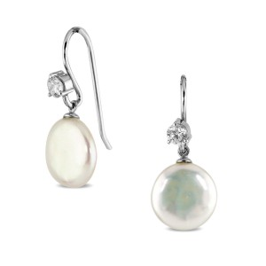 Silver Coin Pearl Bridal Earrings