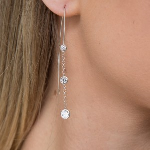 Silver and Cubic Chain Drop Earrings