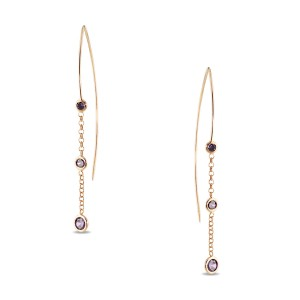 Silver Rose Gold Plate Chain Earrings