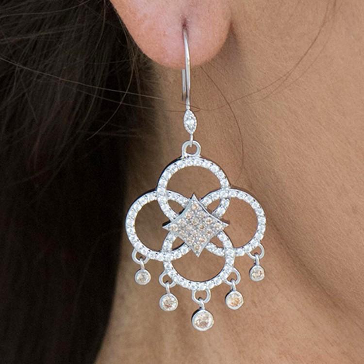925 Sterling Silver chandelier drop earrings