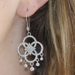 925 Sterling Silver chandelier drop earrings