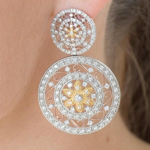Silver Tri Colour CZ Encrusted Regal Studs