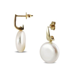 9K Yellow Gold Coin Pearl Stud Earrings