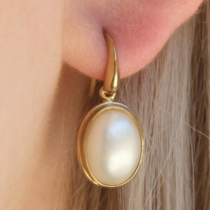 9k Yellow Gold South Sea Mabe Pearl Earrings